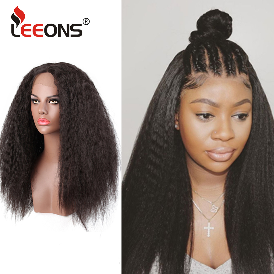 Leeons Lace Frontal Wig Kinky Straight Lace Wig Brazilian Wig Yaki 150% Density Lace Front Afro Synthetic Wigs For Black Women