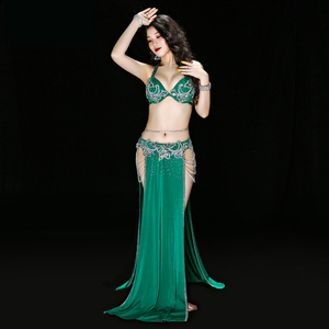 Image 4 - 이집트 전문 밸리 댄스 브래지어 + 스커트 + 벨트 + 속옷 여성 오리엔탈 댄스 정장 밸리 댄스 의상 디럭스 댄스 복장