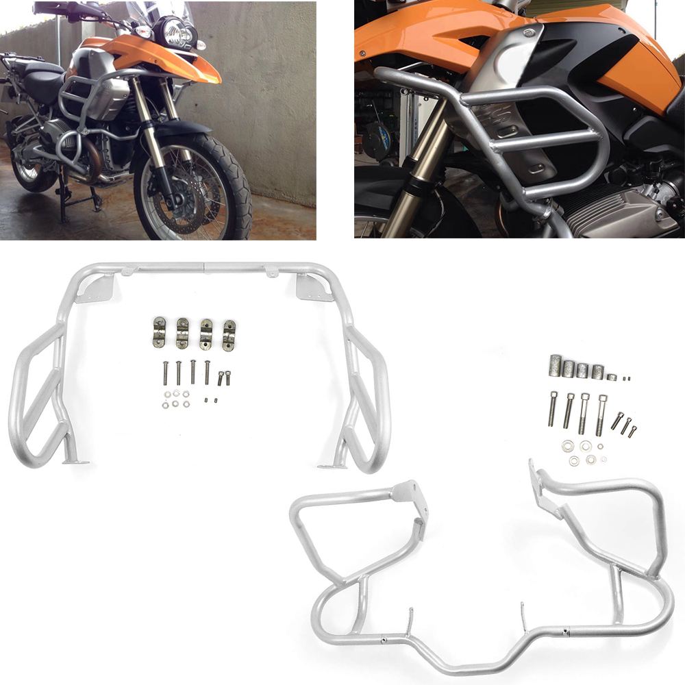 For <font><b>BMW</b></font> <font><b>R1200GS</b></font> R 1200 GS Oil cooled 04-12 Motorcycle Upper Lower Crash Bar Engine Tank Guard Bumper One set of Frame Protector image