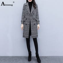 Plus Size 3XL Double Breasted Plaid Autumn Winter Women Lapel Neck Long Sleeve High Street Wool Blends Trench Coat Long Outwear цена