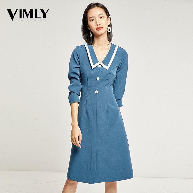 Vimly femmes élégant Vintage bleu robe dames couleur contraste automne robes manches Laple manches longues rue porter