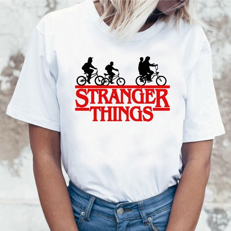 Stranger Things 3 Funny Tshirt Women Eleven Cartoon Printed T-shirt Upside Down Female Shirt Harajuku Tshirt Ullzang Top Tees