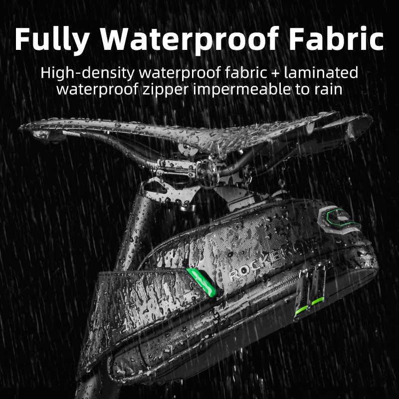 Rockbros à prova de chuva saco de bicicleta à prova de choque da sela para reflexivo traseiro grande capatity selim mtb bicicleta saco acessórios