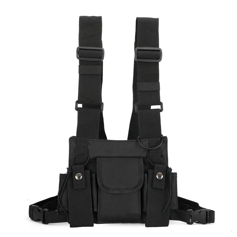 Radio Walkie Talkie 3 Pocket Chest Pack Bag Harness For Motorola Baofeng KENWOOD Front Pack Vest Pouch Bag Carry Case