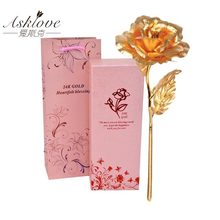 Asklove 24K Gold Foil Rose Flower Wedding Decoration Flower Girlfriend Gift Lover's Gold Rose Plated Artificial Flowers Gift box(China)
