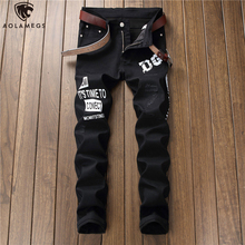 Aolamegs Jeans Men Hip Hop Letter Printing Solid Color Denim Pants Casual Slim Fit Trousers All-match Simple Fashion Streetwear