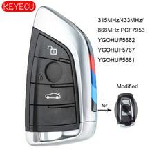 KEYECU Smart Remote key Fob 3 Taste 315MHz YGOHUF5662, 433MHz YGOHUF5767, 868MHz YGOHUF5661 PCF7953 für BMW F Serie CAS4 +/ FEM