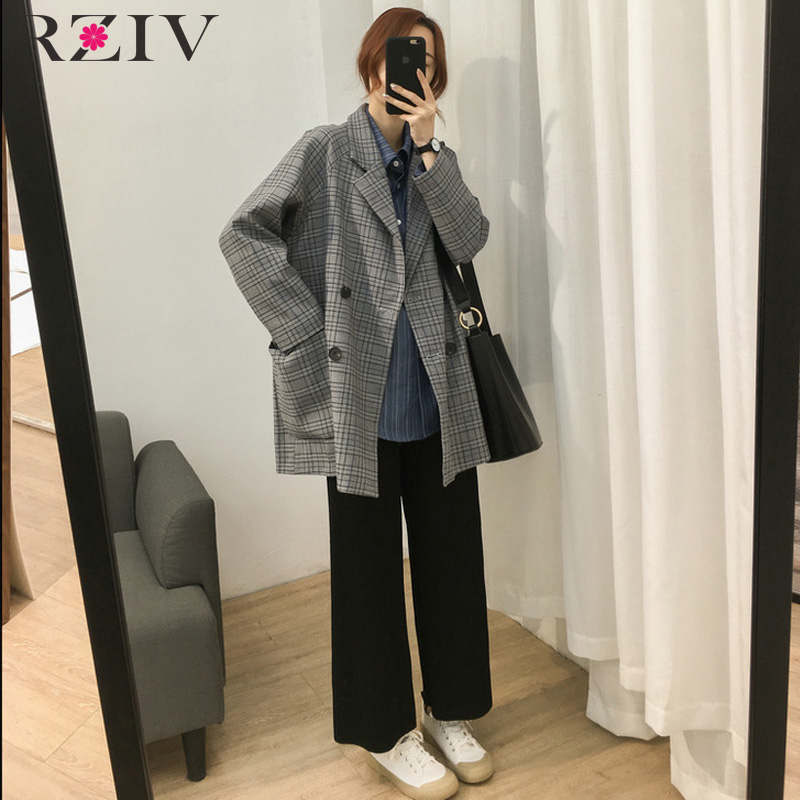 RZIV Autumn and winter women's suit casual plaid double-breasted pocket decorative loose suit