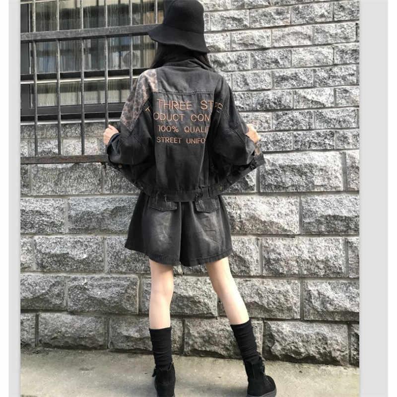 ヴィンテージブラックヒョウ女性デニムジャケット春原宿パンクボンバージーンズジャケットコートボーイフレンドルースポケットファッションストリート