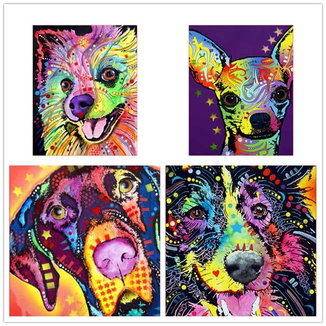 DIY Framed Deer LittleLovely Dog Oil Painting By Numbers Animal Anime Colorful Paint Wall Art Picture for Living Room Home Decor