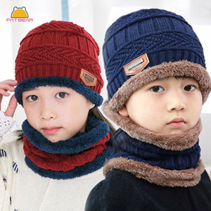 Knitted Baby Hats Scarf Turban Beanie Cotton Warm Wool Fur Caps Soft Hat For Childern Girls Boys Elastic Beanies Autumn Winter(China)