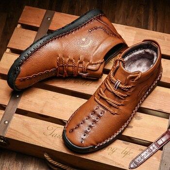 Winter plus velvet business men's soft-soled shoes men's outdoor casual shoes non-slip wear-resistant large size men's shoes 48