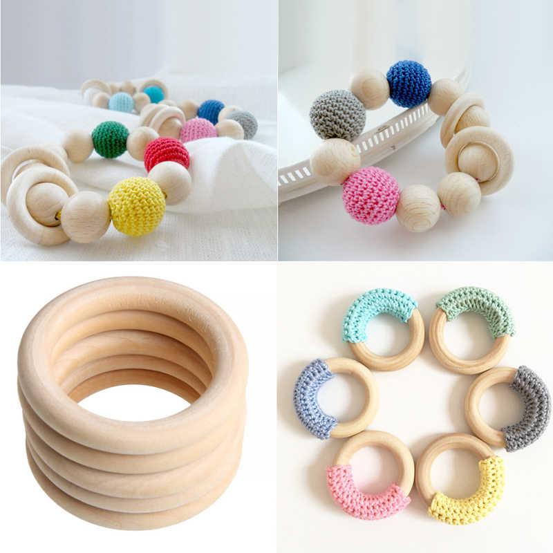 5 uds 70mm bebé anillos de dentición de madera collar pulsera DIY artesanía Natural nuevo