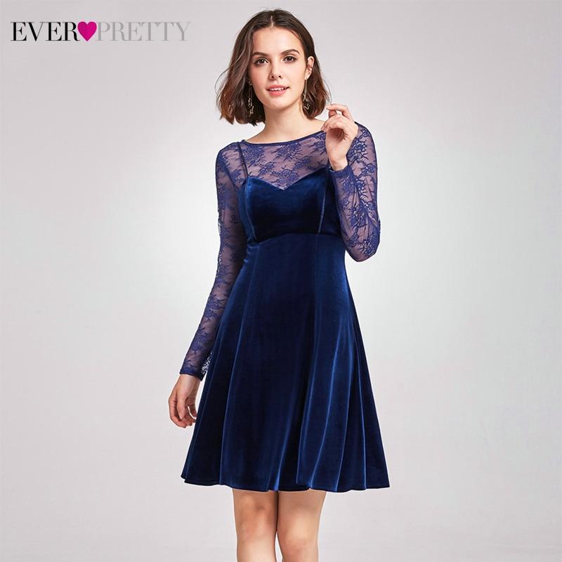 Элегантное бархатное платье Cockatil, милое платье с лямкой на шее, а-силуэт, кружевное, длинный рукав, выше колена, сексуальное вечернее платье, vestidos De Coctel - Цвет: AS05898MB
