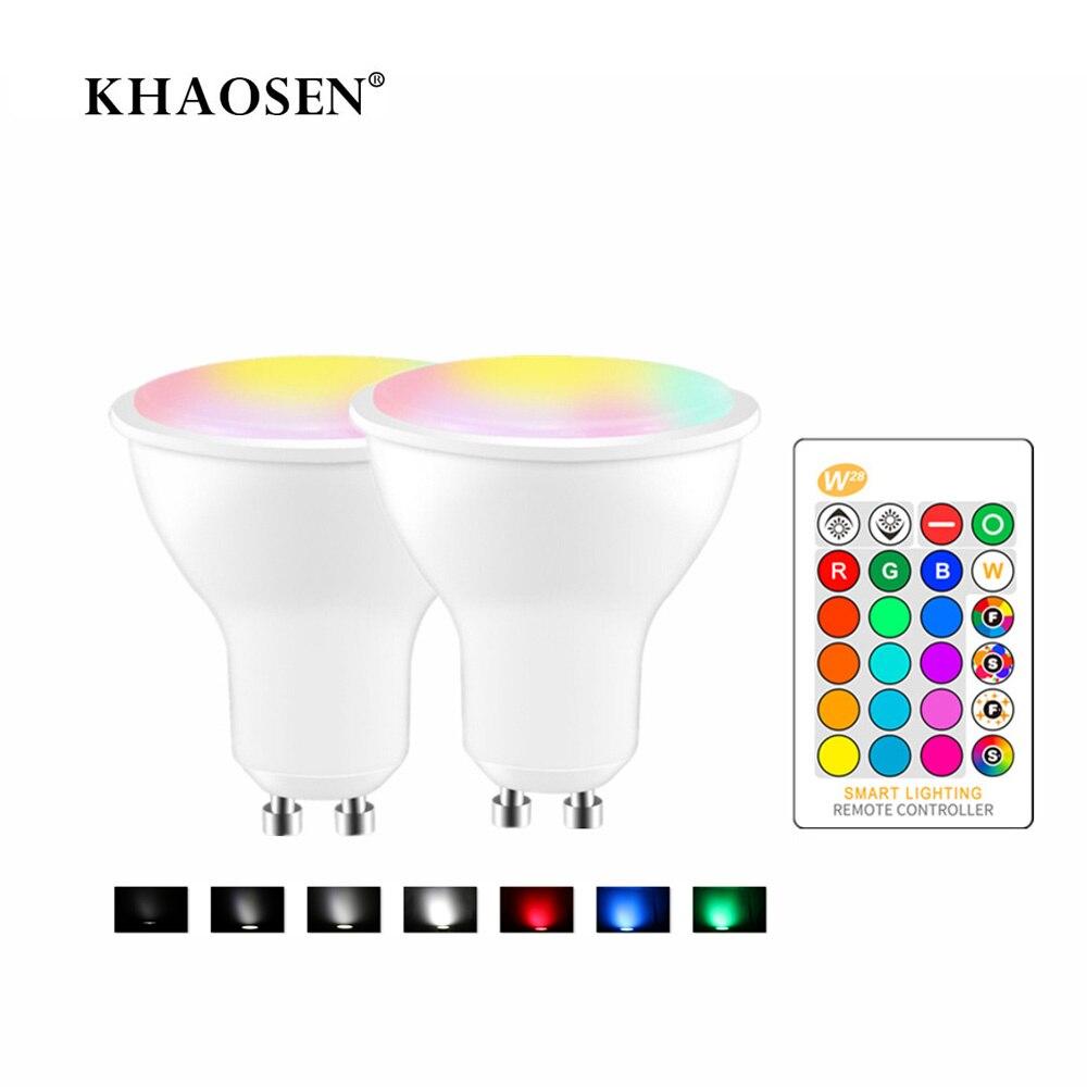 GU10 Светодиодный прожектор RGB белый/теплый белый 8 Вт 85-265 в умный волшебный декоративный RGBW светодиодный светильник с регулируемой яркостью ...