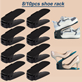 8/10 Pcs Shoe Rack Organizer Adjustable Storage Shoes Stand Shelf Support Slot Space Saving Cabinet Cupboard Closet For Shoes