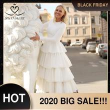Swanskirt manga longa cetim vestido de noiva vestido de casamento 2020 novo elegante o pescoço ruched tule princesa noiva novia yp02
