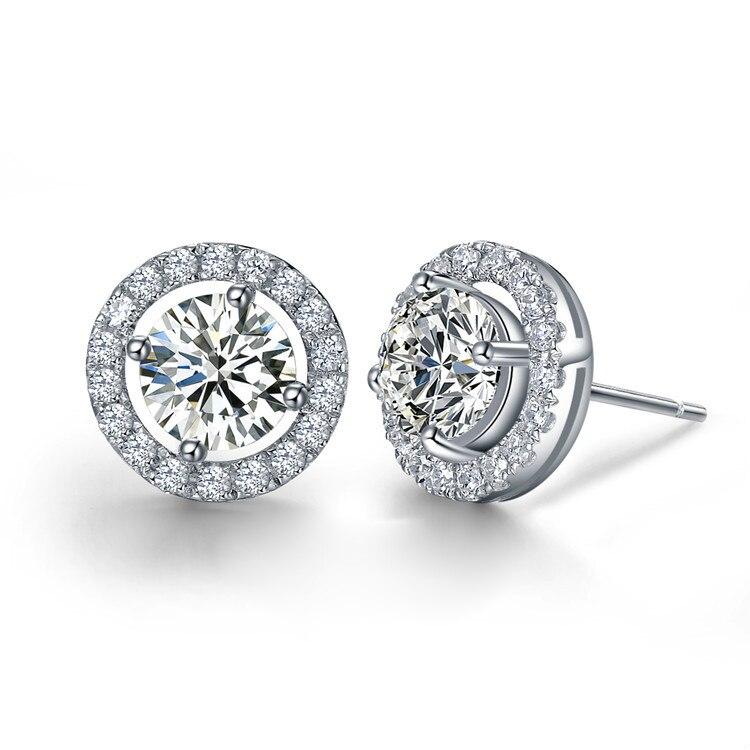 TE204 luxe qualité 2 Carats SONA synthétique gemme Halo clouté boucles d'oreilles de mariage, bijoux de mariage, bijoux de mariage, boucles d'oreilles