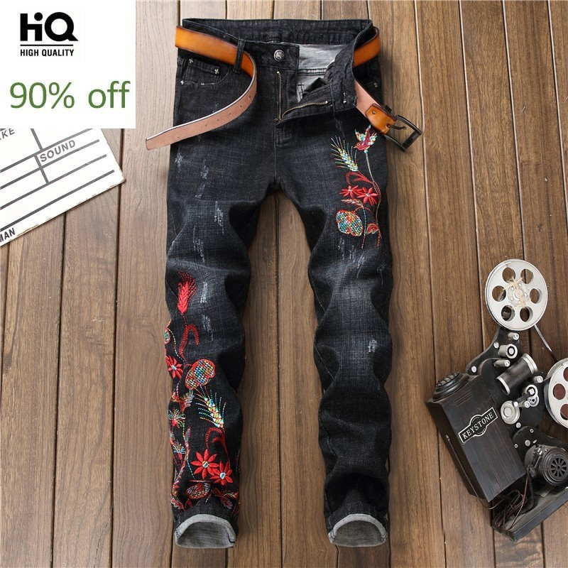 Design 2020 New Fashion Black Embroidery Flower Skinny Jeans Men Vintage Ripped Zip Beggar Pants Classic Denim Biker Trousers