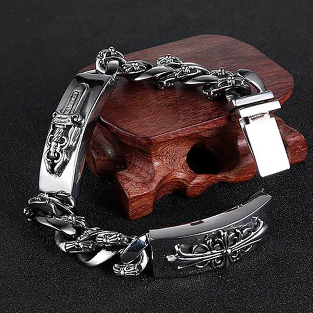 Moocare men punk charm bracelet stainless steel rock hip hop vintage hand chain male jewelry accessories friendly to skin