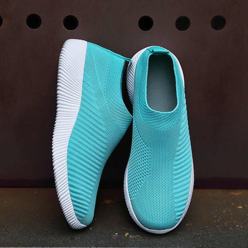 Damyuan rahat ayakkabılar kadınlar nefes Zapatos De Mujer 2020 ilkbahar yaz platformu loafer'lar örgü düz renk spor ayakkabı