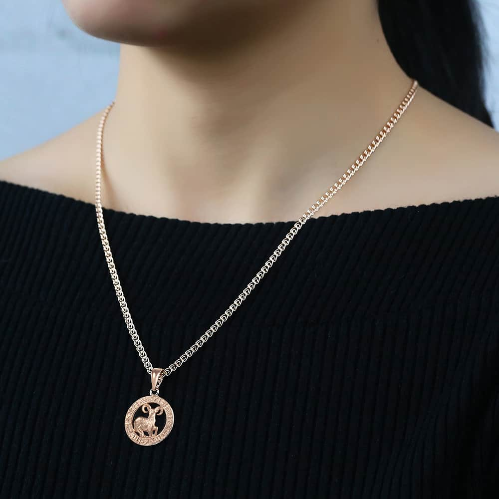 12 Zodiac Sign Constellations Pendant Necklace For Women Men 585 Rose Gold Necklace Fashion Birthday Gifts Drop Shipping GPM16A