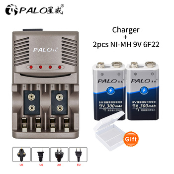PALO 9V 6F22 Ni-MH 9v Rechargeable Battery+Smart battery charger for 1.2V AA AAA nimh nicd battery for 9V rechargeable battery 4pcs palo 4000mah 1 2v c size ni mh nimh rechargeable battery with low self discharge for household flashlight water heater toy