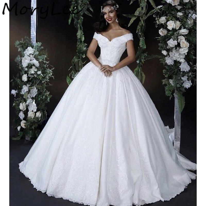 Luxury Wedding Dresses Off The Shoulder Floor Length Lace Applique Satin Wedding Dresses With Lace Up Back Vestido De Noiva