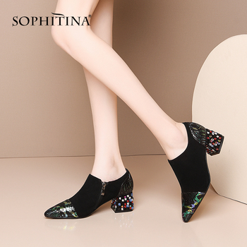 SOPHITINA Spring Autumn Women Pumps Pointed Toe Square Heel Med Slip-On Bling Crystal Decoration Shoes Fashionable Pumps MO420