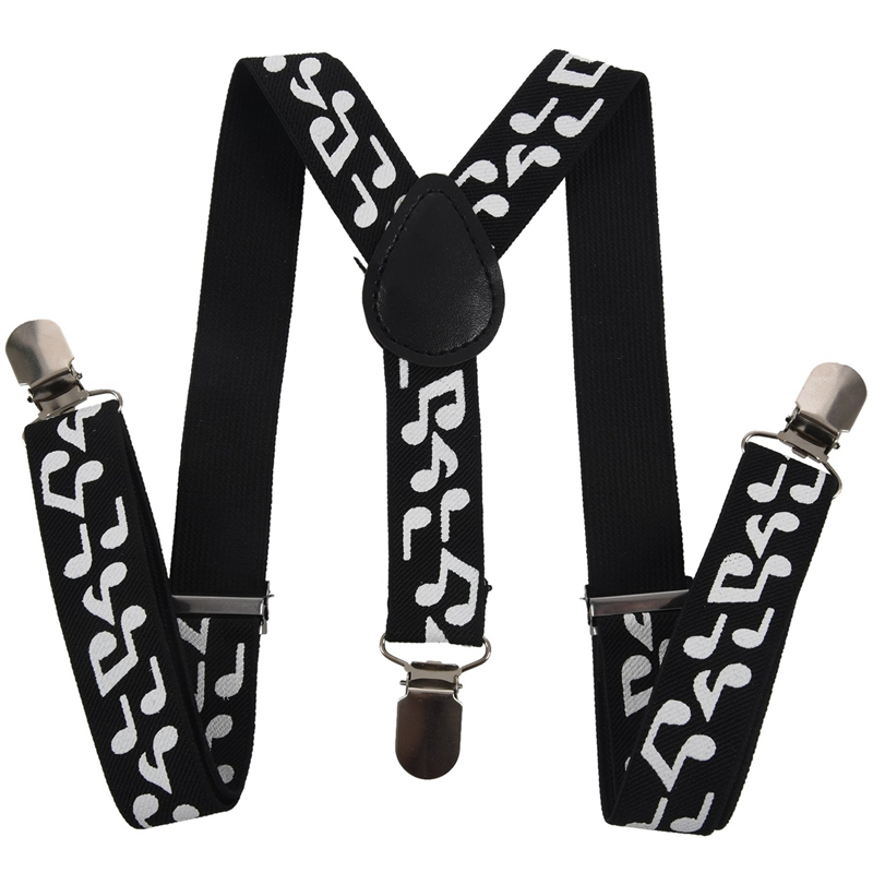 JHD-Black & White Music Notes - Funky Trendy Unisex Suspender Braces One Size Fits All