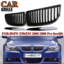 MagicKit Pair Gloss Black Car Racing Grills for BMW Front Kidney Bumper Hood Grill Grilles For BMW E90 2005-2008 Sedan 4DR Pre стоимость