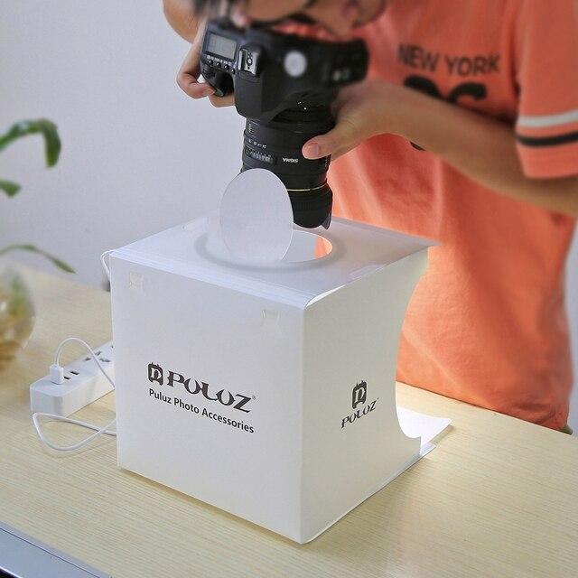 Portable Folding Ring LED Light Room Lightbox Photography Photo Studio Light Tent Soft Box Backdrops for Digital DSLR Camera 1