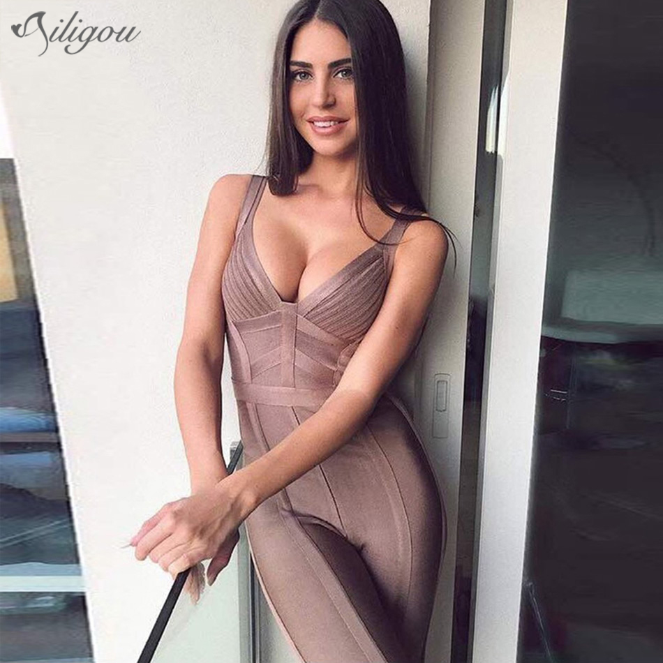 Ailigou Latest Women's Summer Sexy V-neck Brown Trumpet Bandage Jumpsuit 2020 Celebrity Designer Fashion Jumpsuit