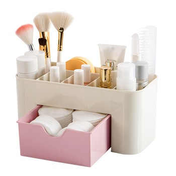 25# Saving Space Desktop Cosmetic Brush Storage Case With Drawer Makeup Item Pens Desk Organize Box Plastic Holder Organizers