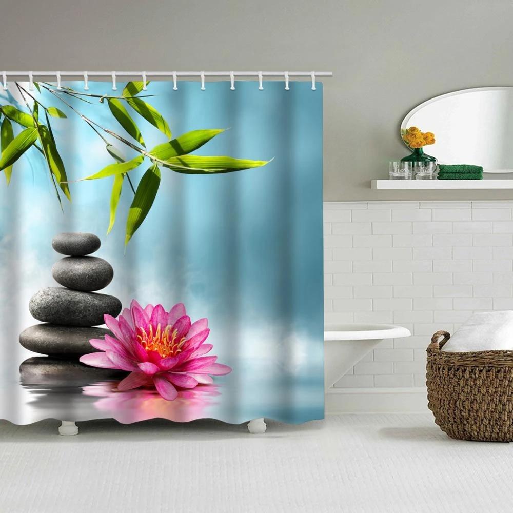 indian spa zen buddha water yoga shower curtain polyester waterproof massage stone orchid bathroom shower curtain 1 8x1 8cm
