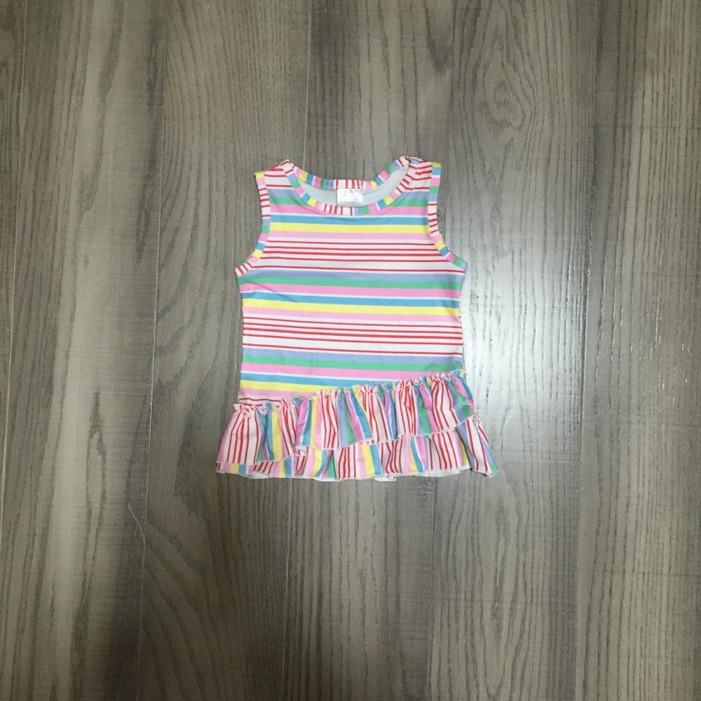 Baby Girls Spring And Summer Clothes Girls Short Sleeve Top Stripe Waistcoat Girls Cotton Top