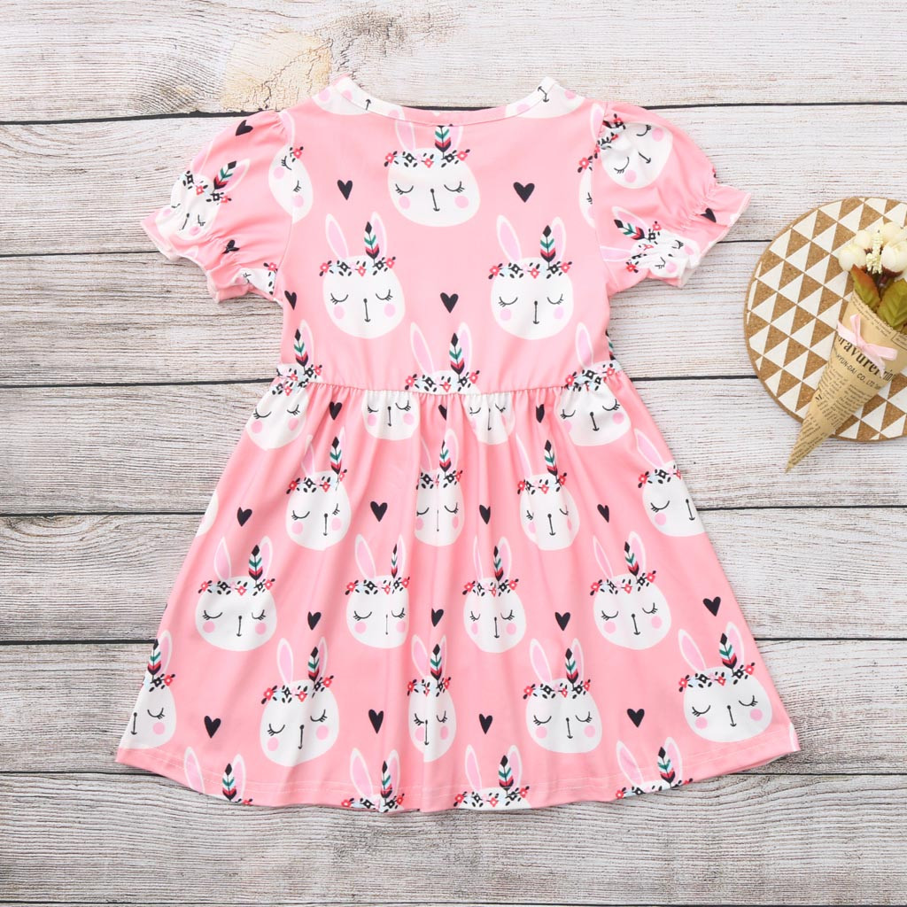 1-6Year Rabbit Dress For Girl Summer Clothes Short Sleeve Childrens Boutique Clothing Cartoon Print Kids Dresses For Girls Dress 1