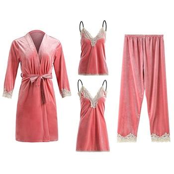 New Women Velvet 4 Pieces Pajamas Set Warm Sexy Lace Pajamas Winter Sleepwear Sling Nightdress Homewear