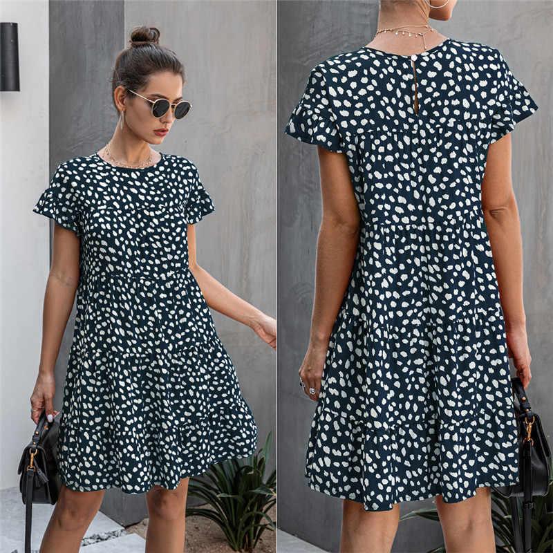 ドレス女性 2020 夏の花ヒョウ柄半袖カジュアルルーズドレス黒ミニショートサンドレスビーチtシャツドレス