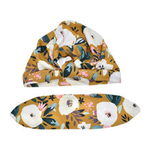 High Quality Baby Girls Turban Floral Headwrap Bowknot Cap Toddler Soft Flower Warm Beanie Hat(China)