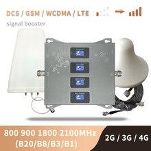 B20 800 900 1800 2100 mhz telefone celular impulsionador quatro-band móvel repetidor de sinal 2g 3g 4g celular amplificador lte gsm umts dcs