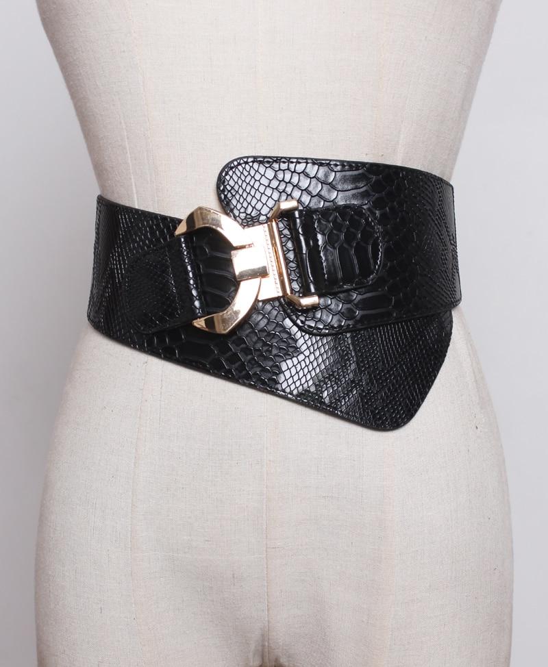 New   Fashion Serpentine Hook Deductions Lady Down Jacket  Waist Decoration Elastic Waist Wide Black Belt