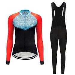 Breathable แขนยาวเสื้อผ้าจักรยานชุดผู้หญิงชุดสวมใส่ MTB เสื้อผ้าจักรยาน Maillot ชุดไตรกีฬาชุด
