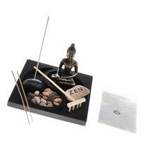 Mini Landscape Buddhist Buddha Statue Sand Table Rock Rake Tray Garden