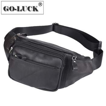 Super Soft Genuine Leather Men Waist Belt Fanny Bag Crossbody Shoulder Bags Casual Style Men's Chest Pack Functional