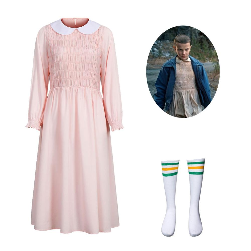 Eleven's Cosplay Pink Dress For Stranger Things Doll Collar Christmas Party Beading Dresses Women Girl Halloween Cosplay Costume