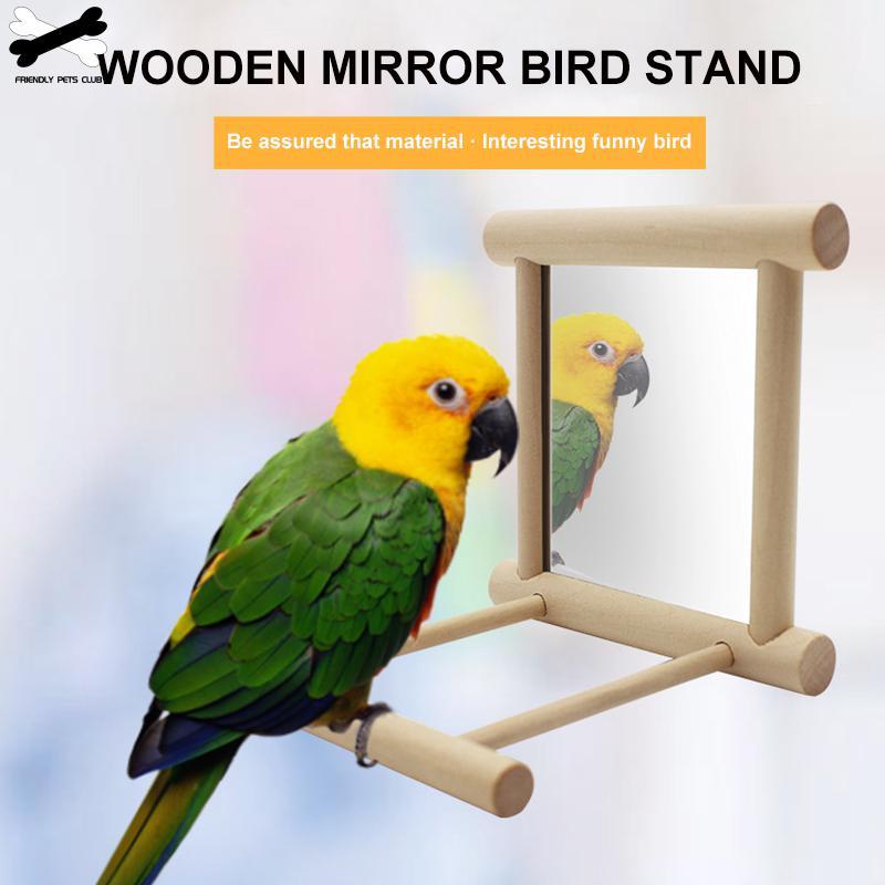 Funny Wooden Pet Toy Mirror Fun Brid Toy For Cockatiel Parrots Small Birds Parrot Toys Pet Parrots Climb Accessories