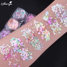 Monja 6 Stijlen Chameleon Nail Art Holografische Glitter Pailletten Hart Ster Patroon Zelfklevende Kleurrijke Vlokken Diy Decoratie