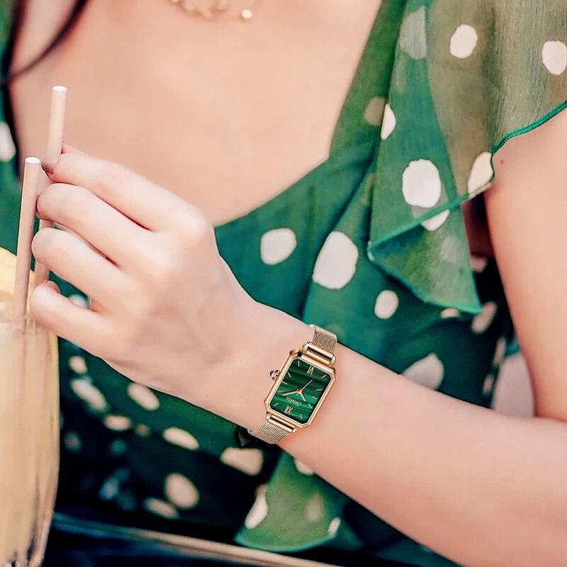 Sunkta japão movimento de quartzo relógios femininos ultra-fino senhoras relógio de alta qualidade retângulo à prova dsmall água pequeno relógio verde dropshipp