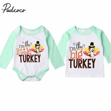 2019 Baby Autumn Clothing Baby Girl Little/Big Matching Outfits Turkey Print Romper T-shirt Tops Thanksgiving Clothes Gifts 0-6Y(China)